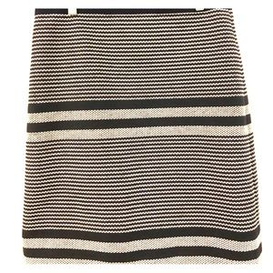 J Crew navy blue and white striped pencil skirt